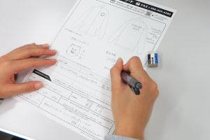 デザインや必要事項を手書きで記入!